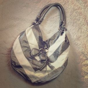 Handbags - Pewter and Cream Striped/Chevron Hobo Style Bag